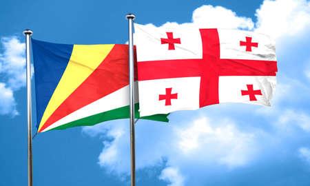 seychelles: seychelles flag with Georgia flag, 3D rendering