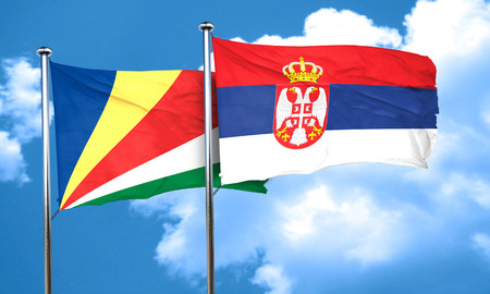 seychelles: seychelles flag with Serbia flag, 3D rendering