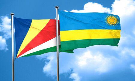 seychelles: seychelles flag with rwanda flag, 3D rendering