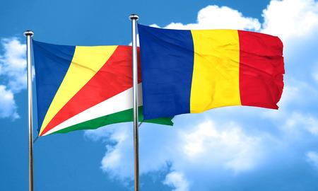 seychelles: seychelles flag with Romania flag, 3D rendering Stock Photo