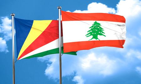 lebanon: seychelles flag with Lebanon flag, 3D rendering