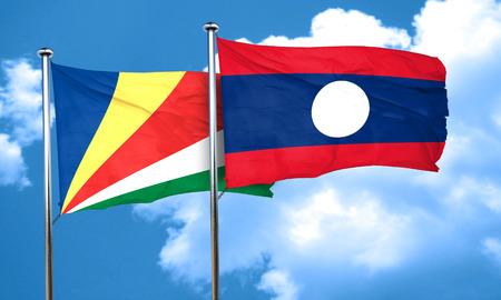 seychelles: seychelles flag with Laos flag, 3D rendering