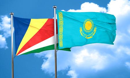 kazakhstan: seychelles flag with Kazakhstan flag, 3D rendering