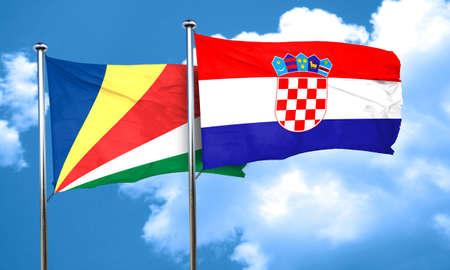 bandera croacia: bandera de Seychelles con la bandera de Croacia, 3D