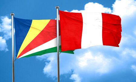 seychelles: seychelles flag with Peru flag, 3D rendering