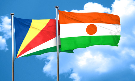 niger: seychelles flag with Niger flag, 3D rendering