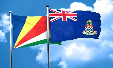 seychelles: seychelles flag with Cayman islands flag, 3D rendering Stock Photo