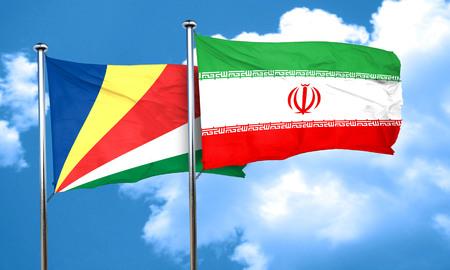seychelles: seychelles flag with Iran flag, 3D rendering Stock Photo