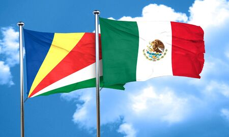 seychelles: seychelles flag with Mexico flag, 3D rendering