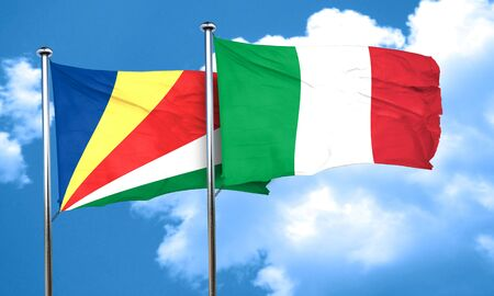 seychelles: seychelles flag with Italy flag, 3D rendering Stock Photo