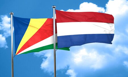 seychelles: seychelles flag with Netherlands flag, 3D rendering
