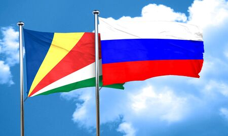 russia flag: seychelles flag with Russia flag, 3D rendering