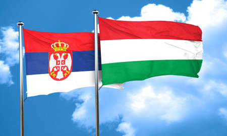 hungary: Serbia flag with Hungary flag, 3D rendering