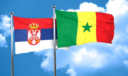 serbia flag: Serbia flag with Senegal flag, 3D rendering