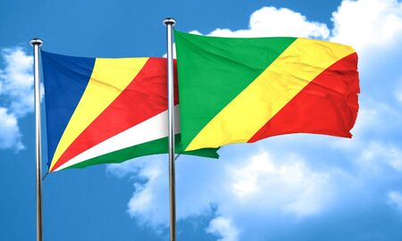 seychelles: seychelles flag with congo flag, 3D rendering