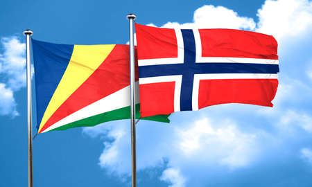 seychelles: seychelles flag with Norway flag, 3D rendering Stock Photo