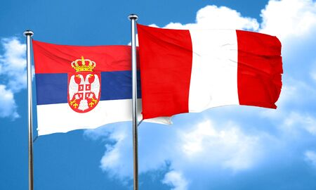 bandera de peru: bandera de Serbia con la bandera de Per�, 3D