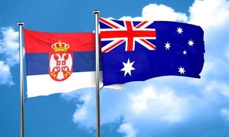 serbia flag: Serbia flag with Australia flag, 3D rendering