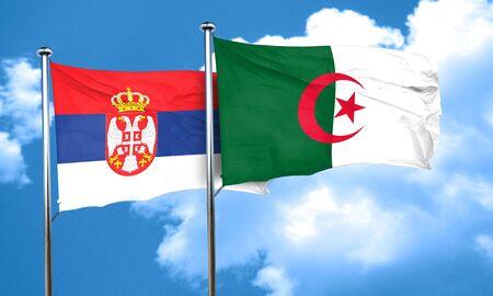 serbia flag: Serbia flag with Algeria flag, 3D rendering