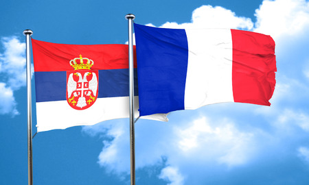 serbia flag: Serbia flag with France flag, 3D rendering Stock Photo