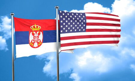 usa flags: Serbia flag with American flag, 3D rendering