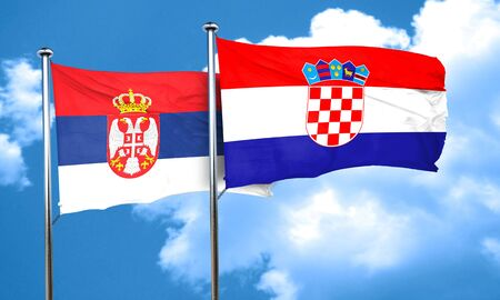 Serbia flag with Croatia flag, 3D rendering