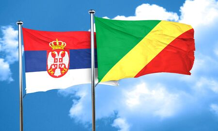congo: Serbia flag with congo flag, 3D rendering Stock Photo