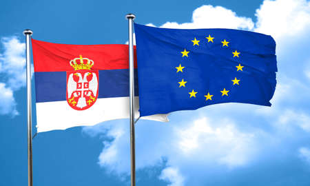 Serbia flag with european union flag, 3D rendering