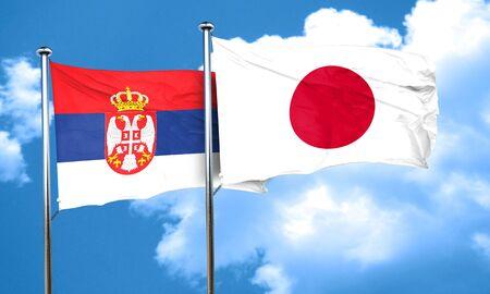 serbia flag: Serbia flag with Japan flag, 3D rendering