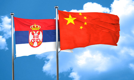 serbia flag: Serbia flag with China flag, 3D rendering