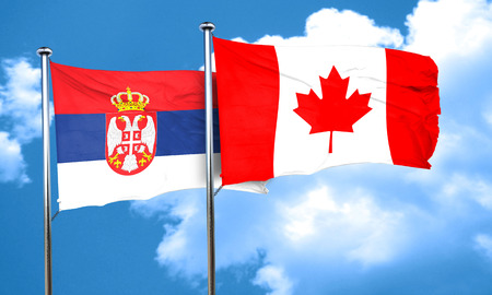 serbia flag: Serbia flag with Canada flag, 3D rendering Stock Photo