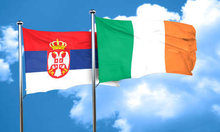 ireland flag: Serbia flag with Ireland flag, 3D rendering