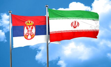 serbia flag: Serbia flag with Iran flag, 3D rendering