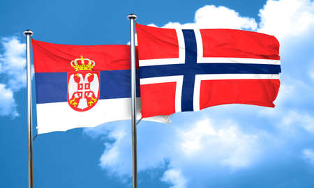 serbia flag: Serbia flag with Norway flag, 3D rendering