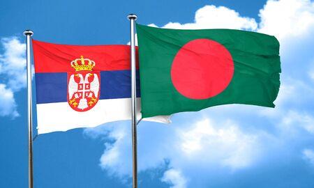 serbia flag: Serbia flag with Bangladesh flag, 3D rendering