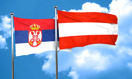 austria: Serbia flag with Austria flag, 3D rendering Stock Photo