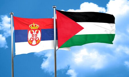 palestine: Serbia flag with Palestine flag, 3D rendering Stock Photo