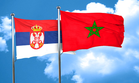 serbia flag: Serbia flag with Morocco flag, 3D rendering