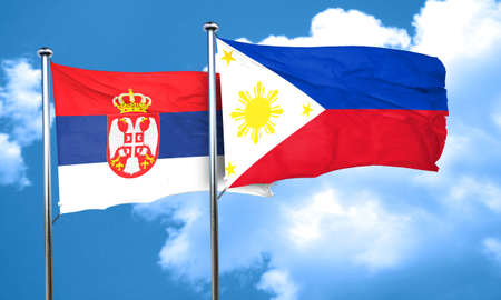 philippino: Serbia flag with Philippines flag, 3D rendering