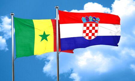 croatia: Senegal flag with Croatia flag, 3D rendering Stock Photo