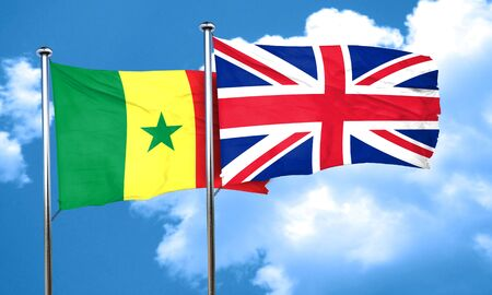 british culture: Senegal flag with Great Britain flag, 3D rendering