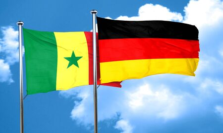 senegal: Senegal flag with Germany flag, 3D rendering Stock Photo