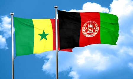 afghanistan flag: Senegal flag with afghanistan flag, 3D rendering