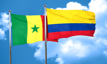 senegal: Senegal flag with Colombia flag, 3D rendering Stock Photo