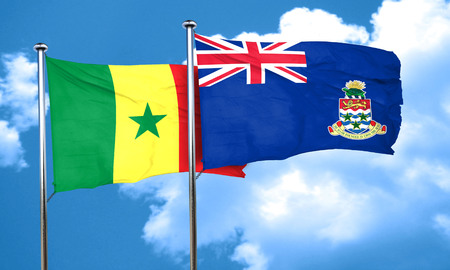 cayman: Senegal flag with Cayman islands flag, 3D rendering Stock Photo
