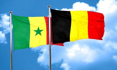 senegal: Senegal flag with Belgium flag, 3D rendering Stock Photo