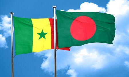 bangladesh: Senegal flag with Bangladesh flag, 3D rendering Stock Photo