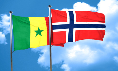 norway flag: Senegal flag with Norway flag, 3D rendering Stock Photo