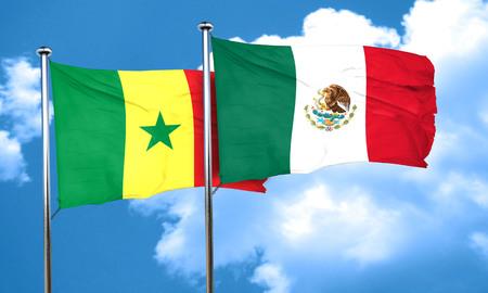 senegal: Senegal flag with Mexico flag, 3D rendering