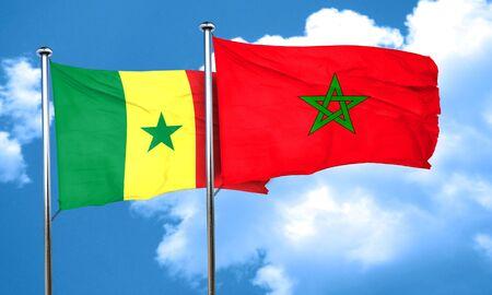 senegal: Senegal flag with Morocco flag, 3D rendering
